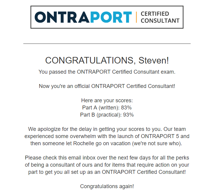 OntraPort test results