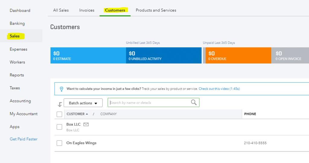 Customers Quickbooks Online