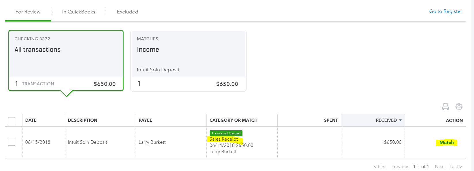sales receipt qbo match bank feeds